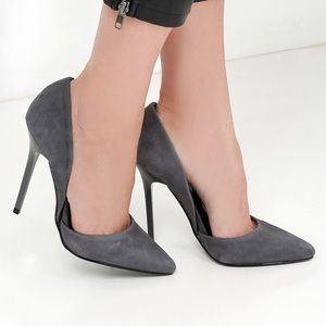 Varcityy Grey Suede Leather D'Orsay Pumps
